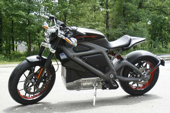 This Wednesday, June 18, 2014 photo shows Harley-Davidson's new electric motorcycle at the company's research facility in Wauwatosa, Wis. The company plans to unveil the LiveWire model Monday, June 23, at an invitation-only event in New York. (AP Photo/M.L. Johnson)