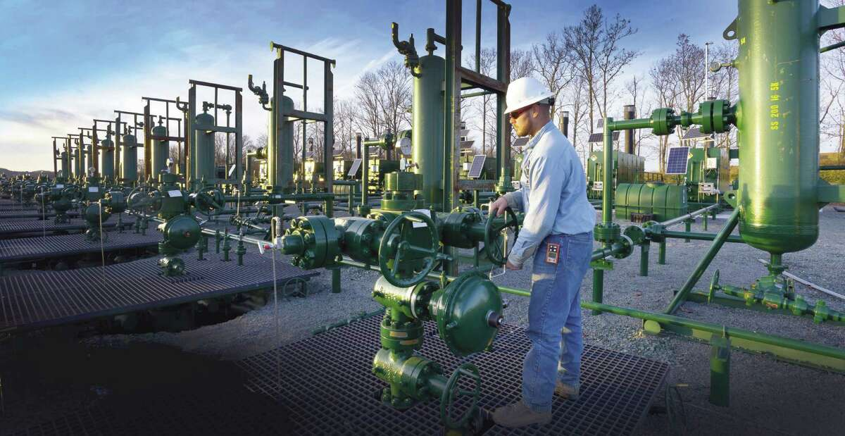 Houston's Cabot Oil & Gas Corp., which developed this 10-well pad in the Marcellus Shale of the Northeast U.S., is working with Lackawanna College in New Milford, Pa., to train workers for Marcellus oil field jobs.