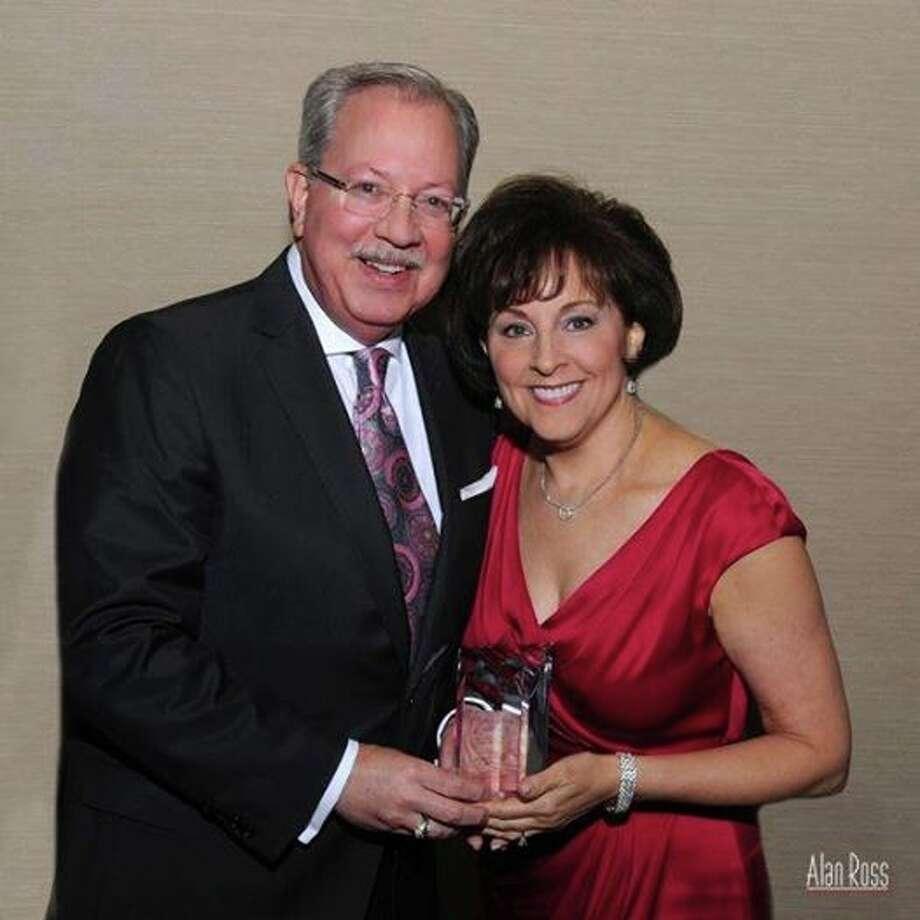 Jay and Karen Harberg receive the Samuel E. Karff Leadership award.