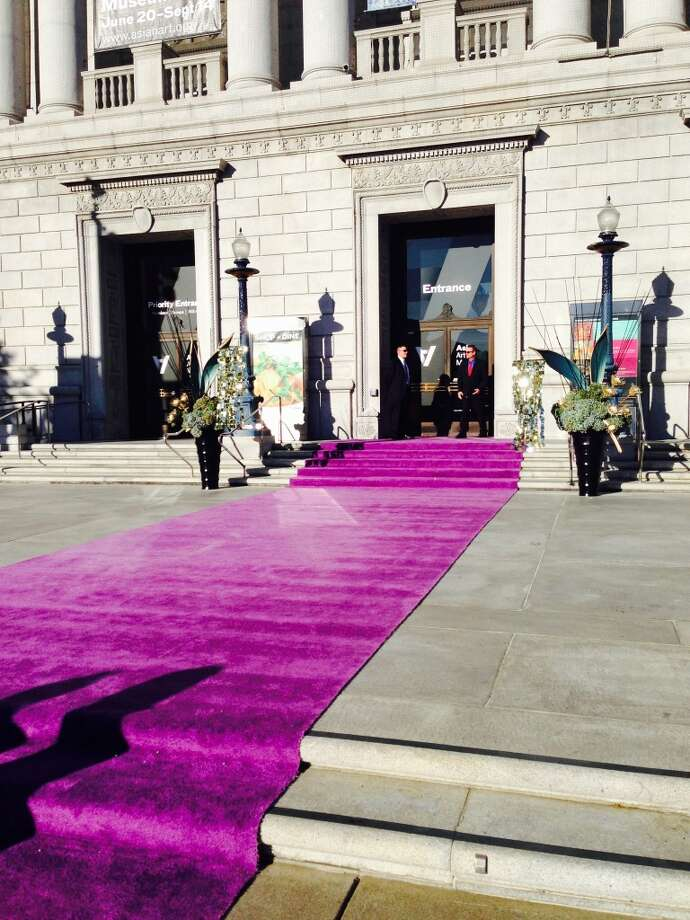 "The entrance of the Asian Art Museum with purple carpet ready for the gala opening night of ""Gorgeous."""