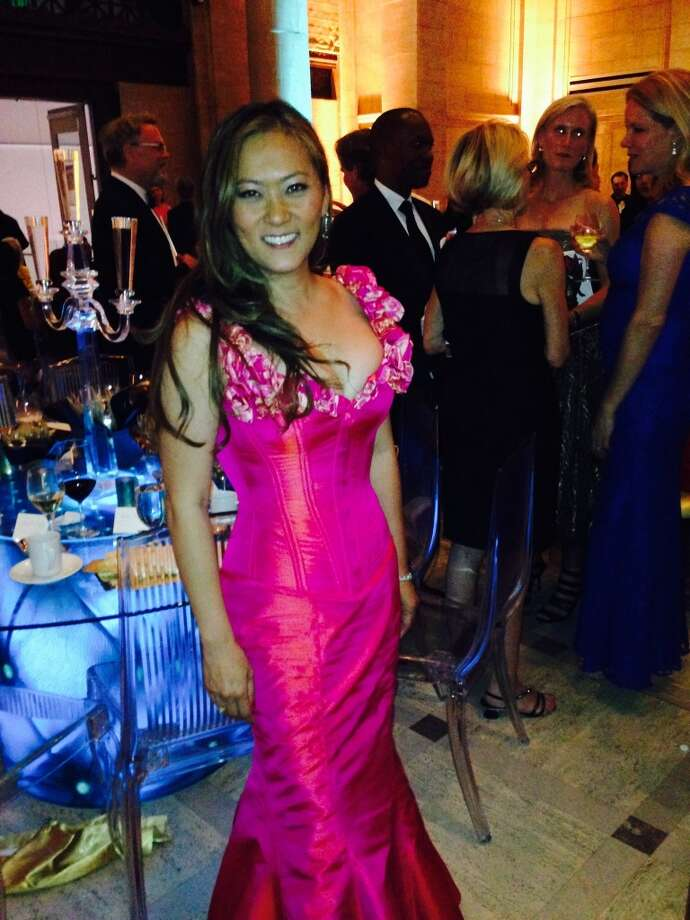Event co-chair Elizabeth Pang Fullerton in a custom gown by Dark Garden.