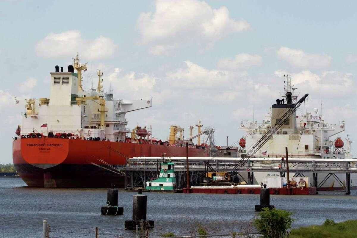 7) Ships dock at Kinder Morgan's BOSTCO storage terminals at the Houston Ship Channel.