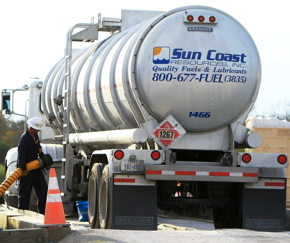 A Sun Coast truck offloads fuel at the Port of Victoria. The Houston-based company is assisting with emergency fuel delivery during Hurricane Florence. NEXT: See photos of Hurricane Florence's track, satellite imagery and preparation.