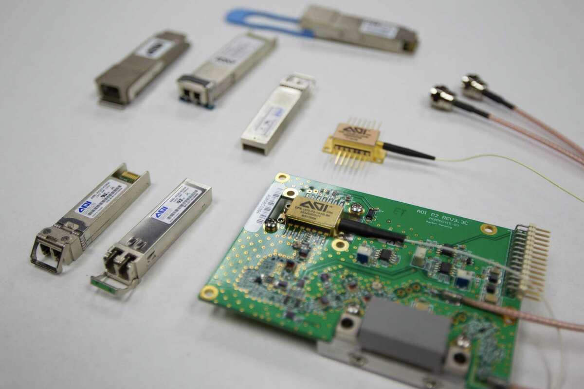 Transceivers are on display at Applied Optoelectronics on Wednesday, June 4, 2014, in Sugar Land ( J. Patric Schneider / For the Chronicle )