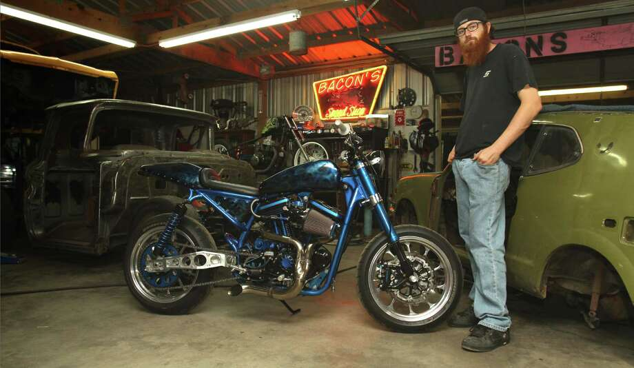 "Blake Van Dusen's custom-built hybrid ""stunt tracker"" was a Twitter heavy-hitter, earning him bragging rights as Texas' top bike builder on the Discovery Channel television show #BikerLive."