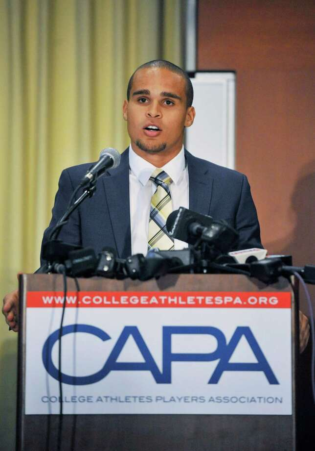 "Q. Will this lead to pay-for-play in college sports?A. Not right away, though the pressure brought by unionization attempts and lawsuits has already led to proposals for the five biggest college conferences to increase scholarship money and change other rules to benefit athletes. Attorneys for the plaintiffs say the whole college sports system doesn't need to be blown up, but there are remedies that will help athletes prosper while at the same time keeping a structure to control college athletics. They're suggesting the establishment of a trust funded by the NCAA and its schools that would take money for the use of player images and dole it out to individual players — but only after they're done with school. ""Notwithstanding the NCAA's conjecture that the sky will fall, an unfettered market will not bring college athletics to a halt,"" attorneys for the plaintiffs wrote in a trial brief.PHOTO:  Northwestern quarterback Kain Colter speaks at a press conference for the College Athletes Players Association (CAPA) on Jan. 28, 2014, in Chicago Ill. Photo: David Banks, Getty Images / 2014 Getty Images"