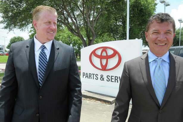 Lance Lewis and Jerry Rocco at Joe Myers Toyota in Houston Wednesday June 04, 2014. Photo by Tony Bullard.