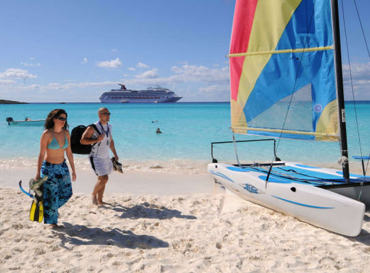 Half Moon Cay  The private Bahamian Island is ideal for beach-combing and water sports.  Cruise here with Carnival.