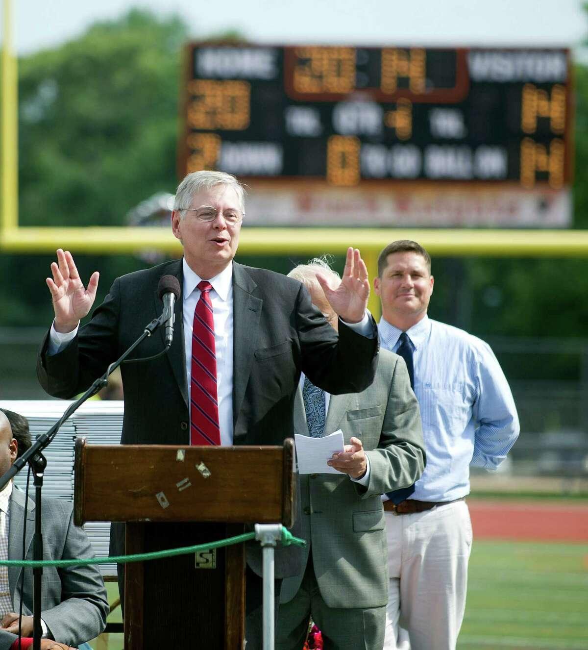 Stamford Mayor David Martin speaks during the Stamford High School commencement ceremony on Thursday, June 19, 2014.