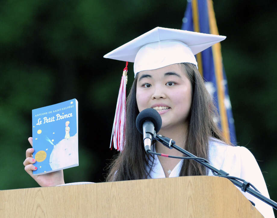 Greenwich High School Valedictorian Fiona Young speaks during the graduation ceremony at the school in Greenwich, Conn., Thursday night, June 19, 2014. Photo: Bob Luckey / Greenwich Time