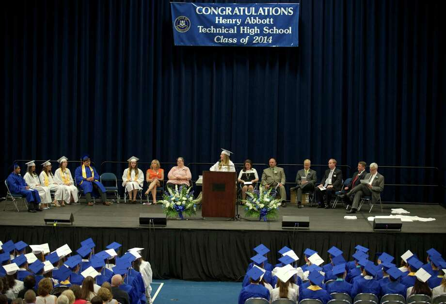 Gina Meyers  does an introduction during the Henry Abbott Technical High School 2014 Graduation Ceremony, on Thursday, June 19, 2014, held at the Western Connecticut State University O'Neill Center. Photo: H John Voorhees III / The News-Times Freelance