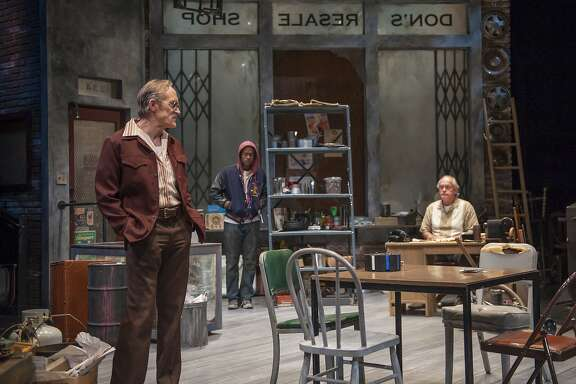 "Teach(James Carpenter, left), Bobby (Rafael Jordan) and  Donny (Paul Vincent O'Connor) talk shop in ""American Buffalo"" at Aurora Theatre"