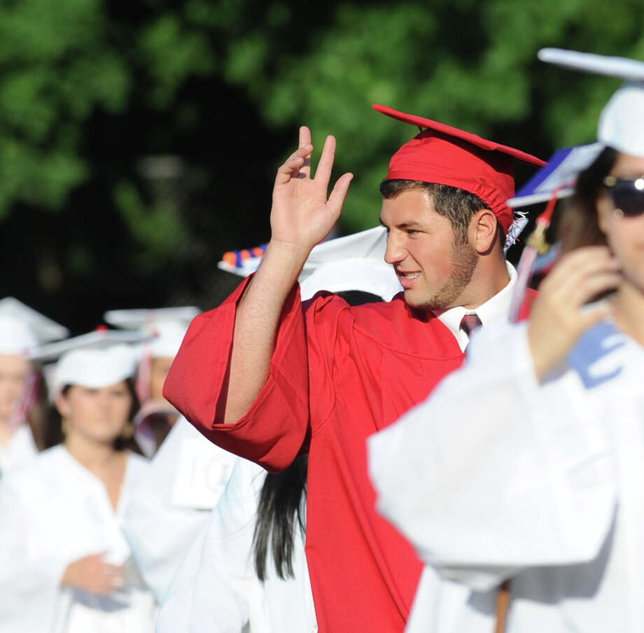 Scenes from the Greenwich High School graduation ceremony at the school in Greenwich, Conn., Thursday night, June 19, 2014. Photo: Bob Luckey / Greenwich Time