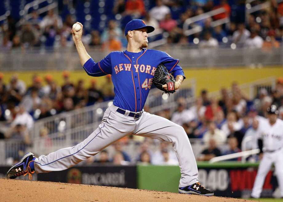 MIAMI, FL - JUNE 19:  Zack Wheeler #45 of the New York Mets pitches during the first inning of the game against the Miami Marlins at Marlins Park on June 19, 2014 in Miami, Florida.  (Photo by Rob Foldy/Getty Images) ORG XMIT: 477585273 Photo: Rob Foldy / 2014 Getty Images