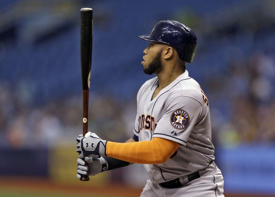 Jon Singleton bats during the first inning. Photo: Chris O'Meara, Associated Press