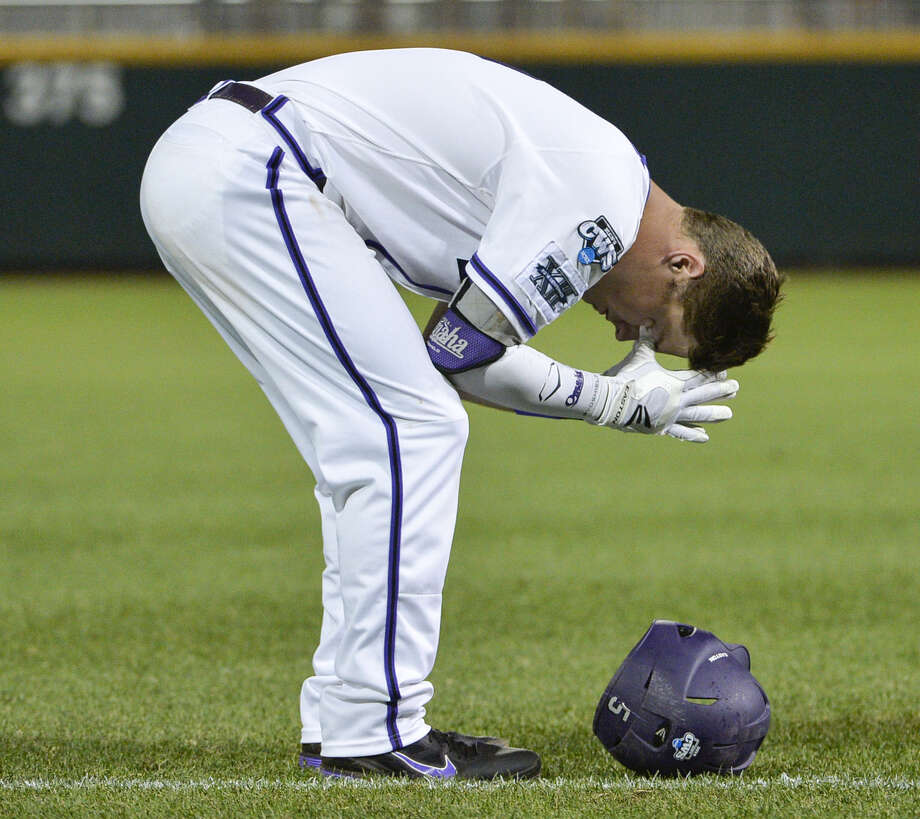 TCU's Derek Odell reacts after making the final out against Mississippi. The Horned Frogs went 1-2 in their second trip to Omaha. Photo: Ted Kirk / Associated Press / FR34398 AP