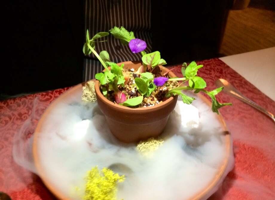 "Campton Place: The first course on the 6- course vegetarian menu ($85). Yogurt and vegetables engulfed in ""fog."""