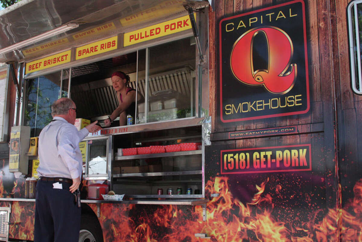 The Capital Q Smokehouse truck is on hand for the weekly Empire State Plaza Farmers Market.