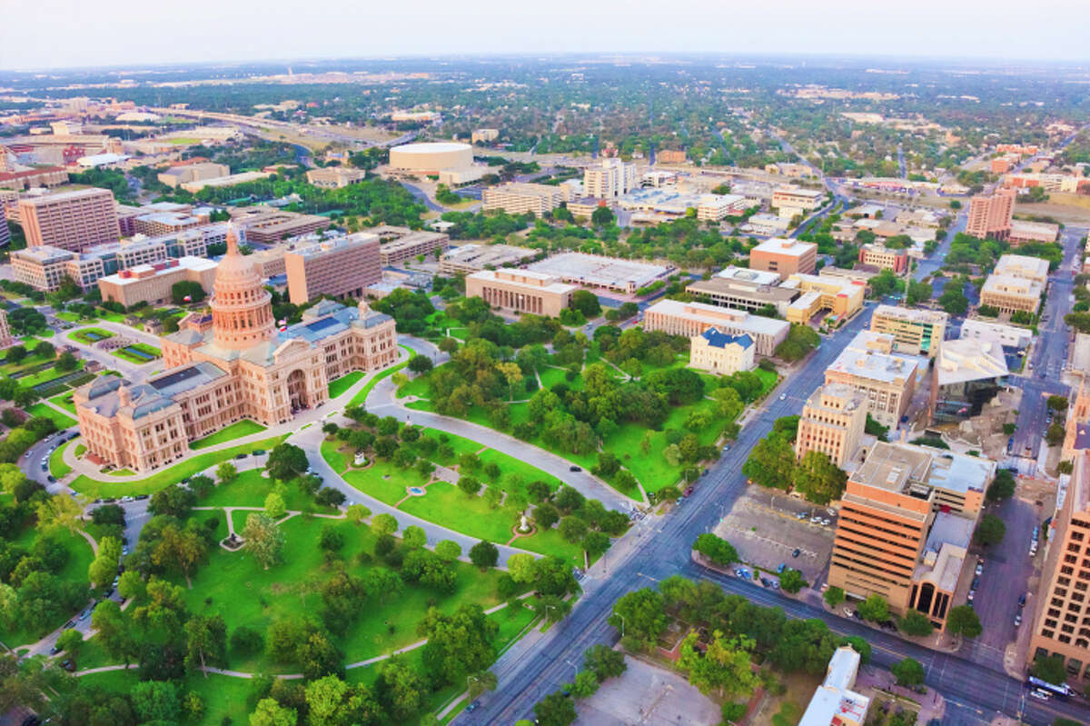 aerial view of Capitol building in Austin Texas
