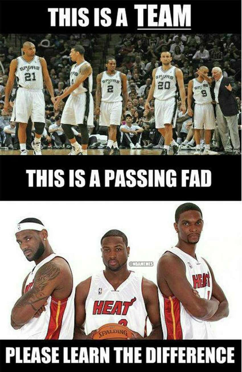 With the NBA season over and the Spurs' fifth NBA title in hands, here's a look at the some of the better memes that followed. Because if you can't count on the Internet for a deluge of quippy taunts following a championship, then what good is the Internet?