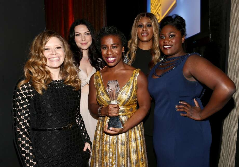 "(L-R) Actresses Natasha Lyonne, Laura Prepon, Uzo Aduba, Laverne Cox and Danielle Brooks, with the award for Best Comedy Series for ""Orange Is The New Black"", attend the 4th Annual Critics' Choice Television Awards at The Beverly Hilton Hotel on June 19, 2014 in Beverly Hills, California.  (Photo by Christopher Polk/Getty Images for Critics' Choice Television Awards) Photo: Christopher Polk"