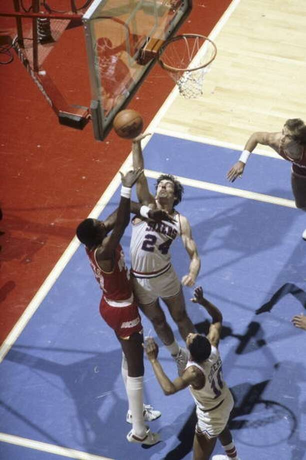 1974: Bobby Jones, first round, 5th overall The North Carolina product never played for the Rockets as he opted to begin his 12-year pro career in the ABA. A five All-Star and the 1982-83 Sixth Man of Year award winner, Jones (24) shown here blocking a shot by Caldwell Jones, was an 11-time member of the All-Defensive team. Photo: Jerry Wachter , Sports Illustrated/Getty Images