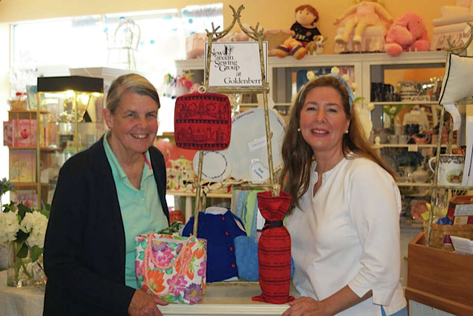 Sue Scannell, president of the New Canaan Sewing Group, left, and Deb Hecht, manager of Goldenberry, look forward to the celebration of their joint venture Thursday, June 26. Photo: Contributed Photo, Contributed / New Canaan News Contributed