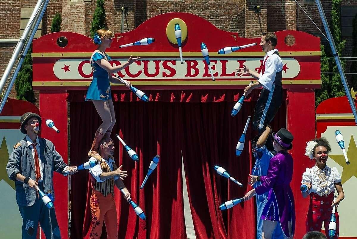 The Circus Bella company performs a Big Juggle at the Yerba Buena Gardens Festival Friday and Saturday.
