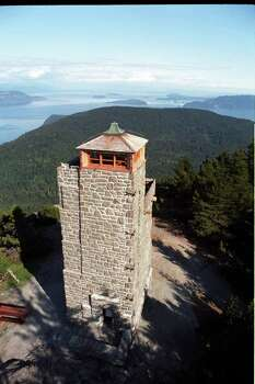 The lookout tower atop 2400 foot high Mt Constitution on Orcas Island provides phenomenal views of the surrounding islands. Photo: Rolf Erikson