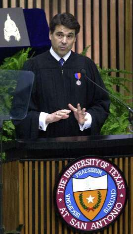 Texas Governor Rick Perry addresses  midday commencement exercises at the University of Texas at San Antonio, May 12,  2001. Photo: Robert McLeroy, San Antonio Express-News / SAN ANTONIO EXPRESS-NEWS
