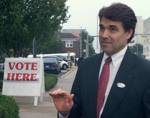Texas Lt. Gov. Rick Perry is shown after voting on Tuesday, Oct. 24, 2000, in Austin. Perry is poised to become governor if Gov. George W. Bush wins the presidency. Perry would be sworn in without an election. As lieutenant governor, a post many consider more powerful than governor, Perry controls the flow of legislation in the Senate. Perry, 50, a Democrat-turned-Republican, says his legislative agenda will be the same no matter which job he holds. Photo: HARRY CABLUCK, AP / AP