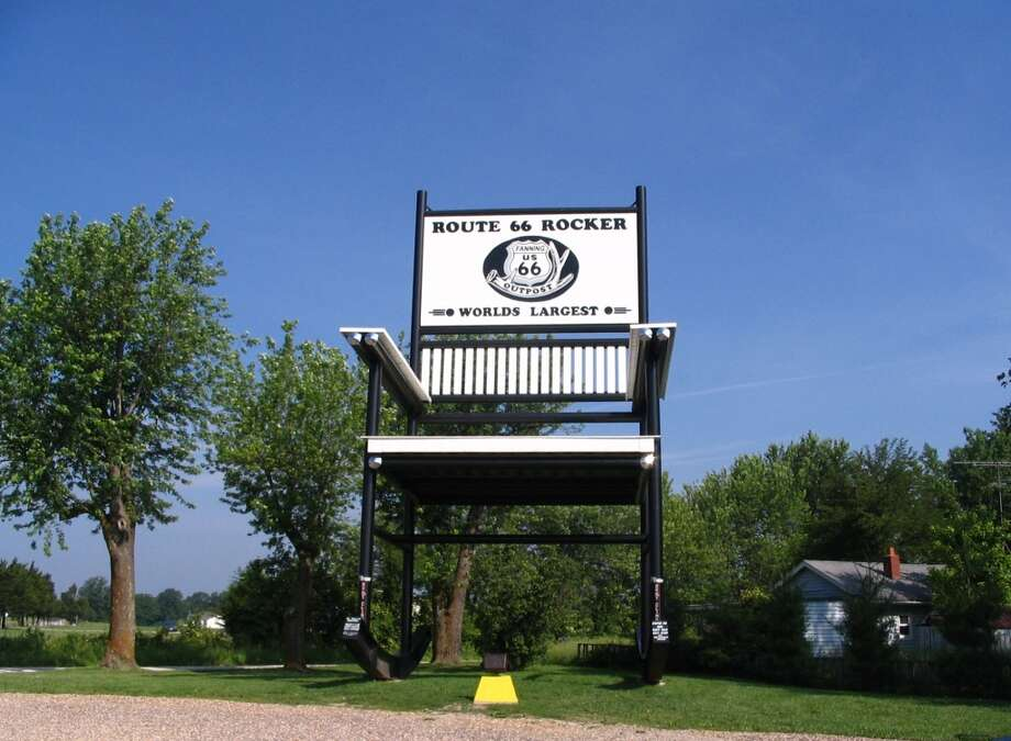 """8. """"Largest Rocking Chair,"""" Fanning, Mo.If a giant were to tire of getting his kicks on Route 66, perhaps he could relax in this 42-foot-tall rocking chair, built in 2008 next to the Fanning 66 Outpost. Everyone else must wait until the seventh annual Picture on the Rocker Day on Aug. 2. Photo: Abe Ezekowitz, Wikimedia"""