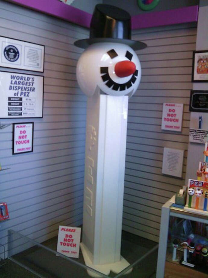 """4. """"World's Largest Pez Dispenser,"""" Burlingame, Calif.According to Gary Doss, curator of the Burlingame Museum of Pez Memorabilia, the 7-foot, 10-inch Pez-style snowman he created in 2007 holds the Guinness World Record for world's largest candy dispenser.   (Note that the Pez Visitor Center, which opened in 2011 at the candy factory in Orange, Conn., also lays claim to  """"the world's largest working Pez dispenser."""") Photo:"""