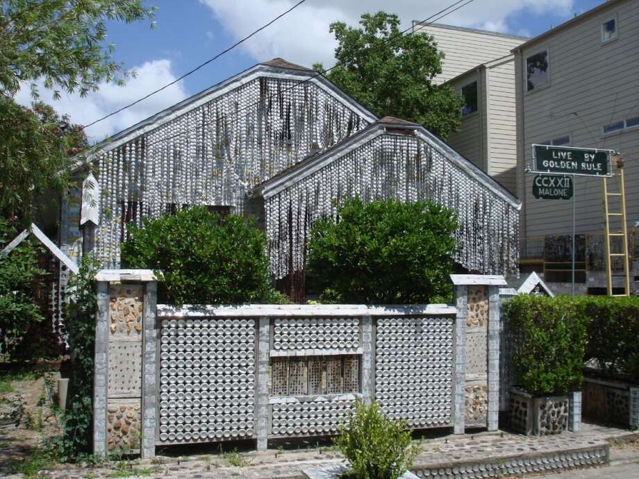 "3. ""Beer Can House,"" Houston. It took 18 years for retired Southern Pacific Railroad upholsterer John Milkovisch to cover his house with an estimated 50,000-plus flattened beer cans, before his death in 1988. He previously had covered the yard with concrete embedded with thousands of marbles, rocks and other items allegedly because he was ""sick of mowing."" It's open to visitors, managed by the  Orange Show Center for Visionary Art. Photo: Andrew Wiseman, Wikimedia"