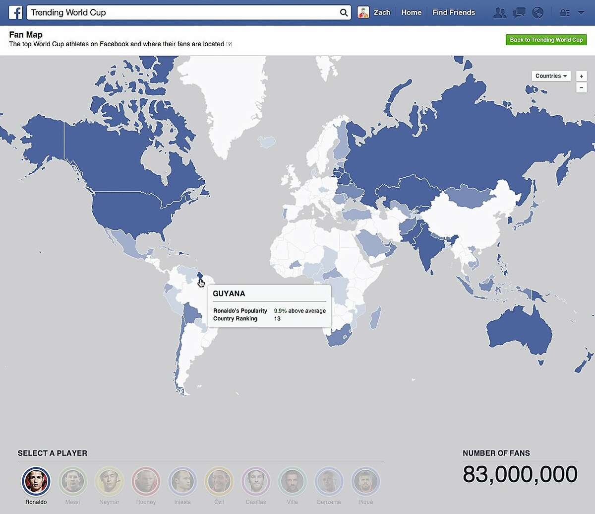 """This undated image provided by Facebook shows the social network's interactive map for the World Cup. Facebook users will be able to keep track of their favorite teams and players throughout the tournament in a special World Cup section on the site called """"Trending World Cup."""" Available on the Web as well as mobile devices, the hub will include the latest scores, game highlights as well as a feed with tournament-related posts from friends, players and teams. (AP Photo/Facebook)"""
