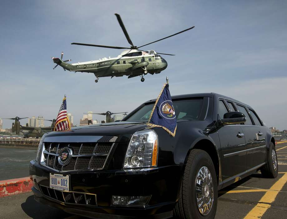The Marine One helicopter ferries President Obama to New York for an annual LGBT gala Tuesday. Photo: Pablo Martinez Monsivais, Associated Press