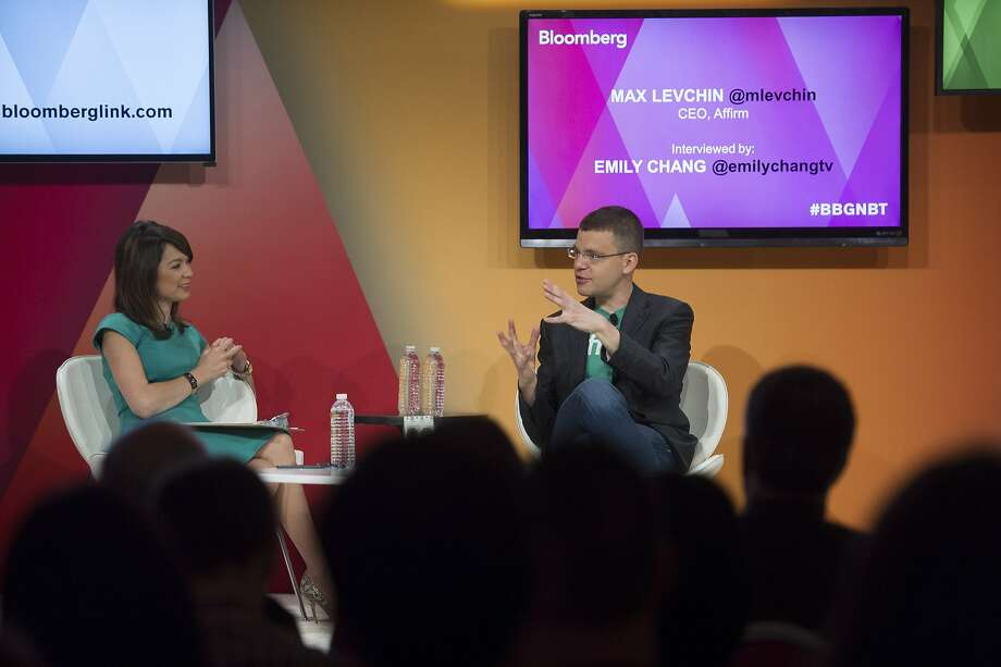 Max Levchin discusses his new enterprise with Emily Chang of Bloomberg News in Sausalito this month. Photo: David Paul Morris, Bloomberg