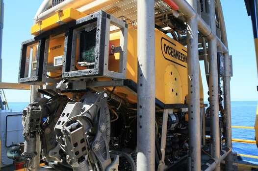 The Noble Bully I is outfitted with two ROVs, so it has a backup in case one is need of maintenance. Photo: Shell Oil Co.