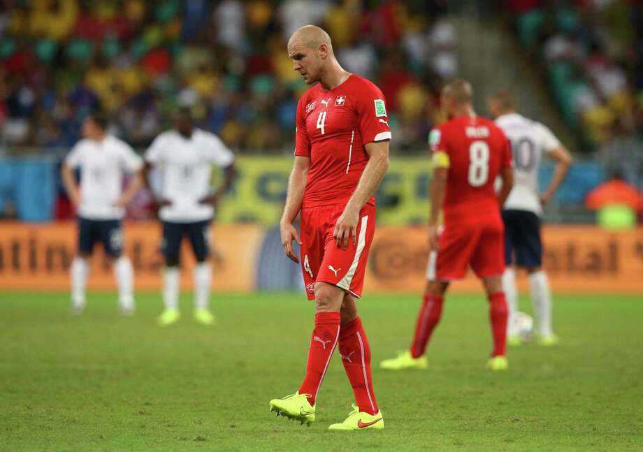 SALVADOR, BRAZIL - JUNE 20:  Philippe Senderos of Switzerland looks on during the 2014 FIFA World Cup Brazil Group E match between Switzerland and France at Arena Fonte Nova on June 20, 2014 in Salvador, Brazil. Photo: Adam Pretty, Getty Images / 2014 Getty Images