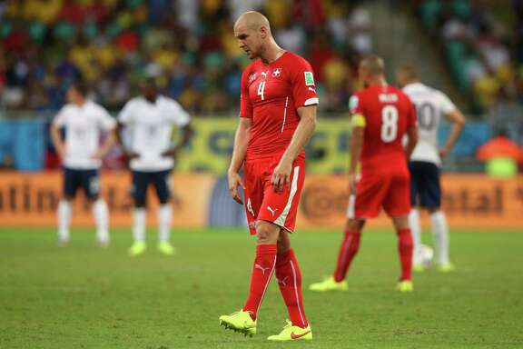 SALVADOR, BRAZIL - JUNE 20:  Philippe Senderos of Switzerland looks on during the 2014 FIFA World Cup Brazil Group E match between Switzerland and France at Arena Fonte Nova on June 20, 2014 in Salvador, Brazil.