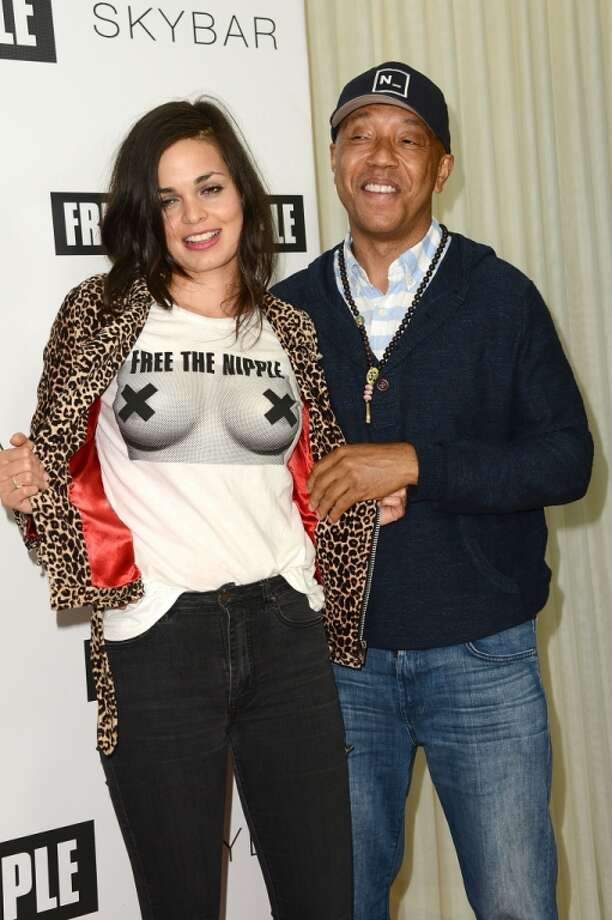 "Lina Esco and Russell Simmons attend the ""Free The Nipple"" fundraiser hosted by Russell Simmons at SkyBar at the Mondrian Los Angeles on June 19, 2014 in West Hollywood, California. Photo: Araya Diaz, Getty Images"