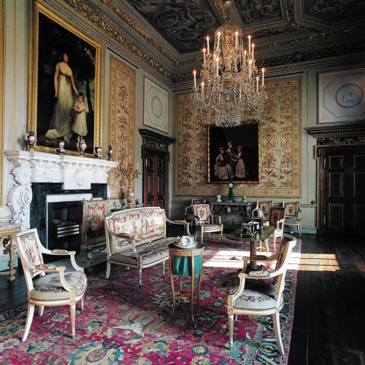 Objects from the White Drawing Room, where paintings by John Hoppner and George James are fixtures, have been transplanted in Houston.