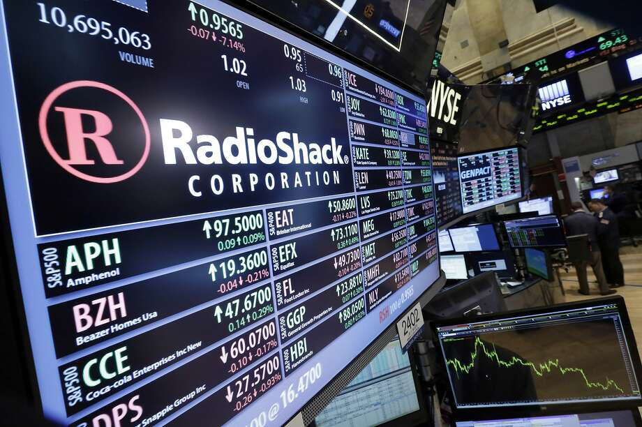 The RadioShack post at the New York Stock Exchange shows the stock sinking below $1 per share, reflecting investor concern over the chain's future. Photo: Richard Drew, Associated Press