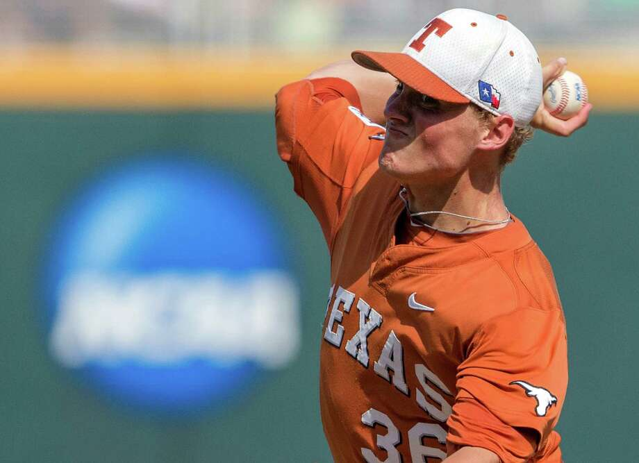 Texas starting pitcher Nathan Thornhill (36) works against Vanderbilt in the eighth inning of an NCAA College World Series baseball game in Omaha, Neb., Friday, June 20, 2014. (AP Photo/Nati Harnik) Photo: Nati Harnik, Associated Press / AP