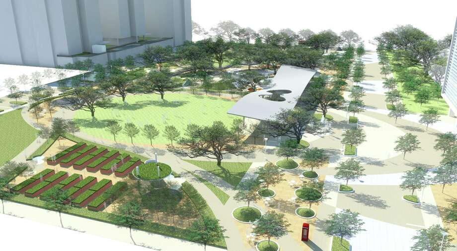A $10 million plan to revitalize Levy Park includes adjacent office and residential developments by Houston-based developer Midway. Photo: Upper Kirby District / ONLINE_YES