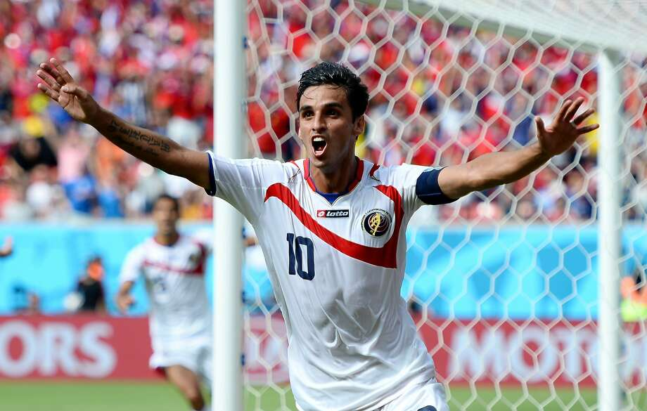 Bryan Ruiz of Costa Rica celebrates scoring the only goal his team needed against Italy. Photo: Jamie McDonald, Getty Images