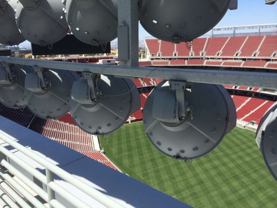 The view from behind the lights atop Levi's Stadium in Santa Clara. (Al Saracevic/San Francisco Chronicle)