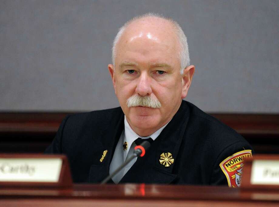 Committee member Norwalk Fire Chief Denis McCarthy speaks during the first meeting of the Sandy Hook Advisory Commission Thursday, Jan. 24, 2013 at the Legislative Office Building in Hartford, Conn. Photo: Autumn Driscoll / Connecticut Post