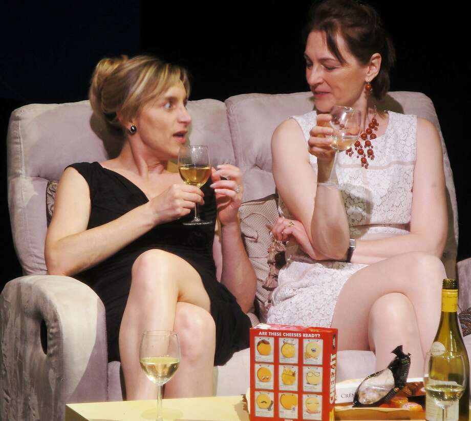 "Sonia (Sylvia Burboeck) and Inez (Sylvia Kratins) endure a disastrous dinner party in Off Broadway West Theatre's production of Yasmina Reza's ""Life X 3"" Photo: Barbara Michelson-Harder"
