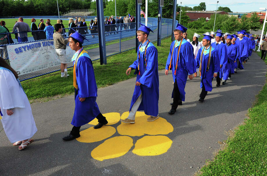 during Seymour High School's 127th Commencement Ceremony in Seymour, Conn. on Friday June 20, 2014. Photo: Christian Abraham / Connecticut Post